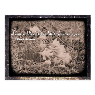Love is blind, friendship closes its eyes postcard