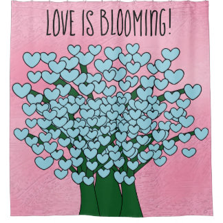 LOVE IS BLOOMING Cute Blue Hearts Trees Pink