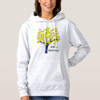LOVE is blooming Cute Yellow Hearts Tree Design Hoodie