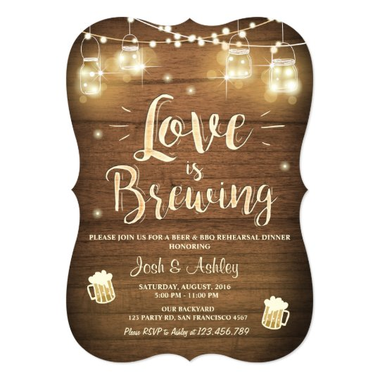 Love is brewing bbq rehearsal bridal shower Wood Card