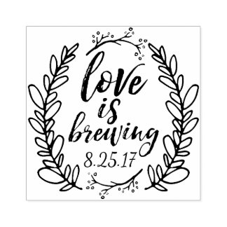 Love is Brewing Wedding Favor Rubber Stamp