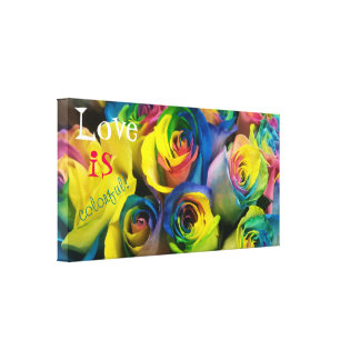 Love is colorful Rainbow Roses Wrapped Canvas