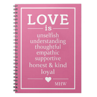 Love Is … custom monogram & color notebook
