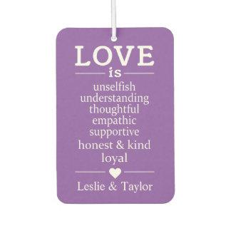 Love Is … custom names & color air freshner Air Freshener