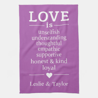 Love Is … custom names & color kitchen towel