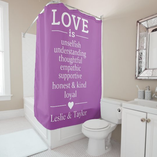 Love Is … custom names & colour shower curtain