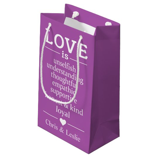 Love Is … custom names & colour small gift bag