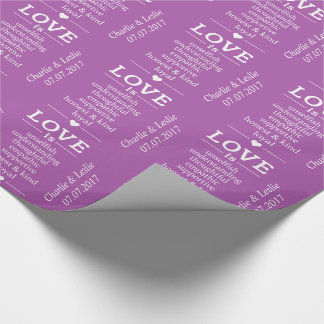 """""""Love Is"""" custom names date & color wrapping paper"""