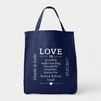 Love Is … custom names & date tote bags