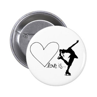Love is Figure Skating, Girl Skater & Heart 2 Inch Round Button