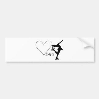 Love is Figure Skating, Girl Skater & Heart Bumper Sticker