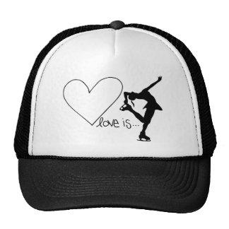 Love is Figure Skating, Girl Skater & Heart Trucker Hat