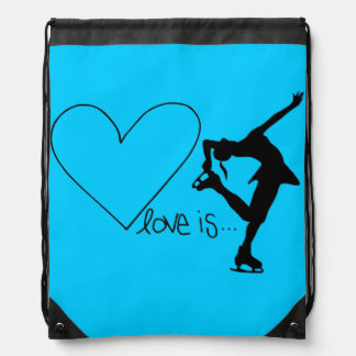 Love is Figure Skating, Heart, Backpack, AQUA Drawstring Bag
