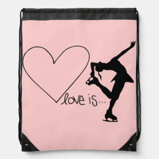 Love is Figure Skating, Heart, Backpack, Baby Pink Drawstring Bag
