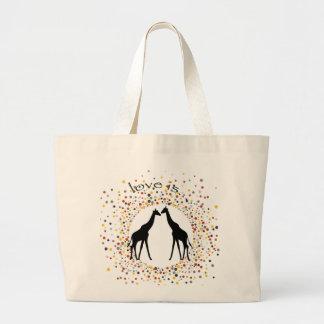"""""""love is"""" giraffe fun animal dots elegant circle large tote bag"""