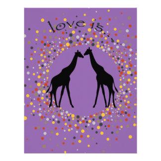 """love is"" giraffe fun animal dots elegant circle letterhead"
