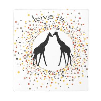 """love is"" giraffe fun animal dots elegant circle notepad"