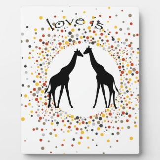 """love is"" giraffe fun animal dots elegant circle plaque"