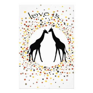 """love is"" giraffe fun animal dots elegant circle stationery"