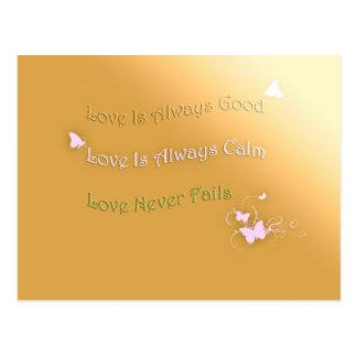 Love is Good, Calm and Never Fails Postcard
