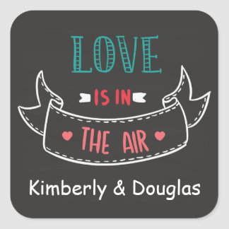 Love Is In The Air Black Chalkboard Personalized Square Sticker