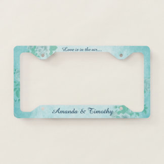 Love is in the Air Blue Floral License Plate Frame