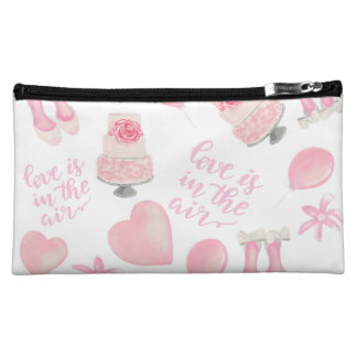 Love Is In The Air Blush Pink Wedding Shoes Cake Makeup Bag