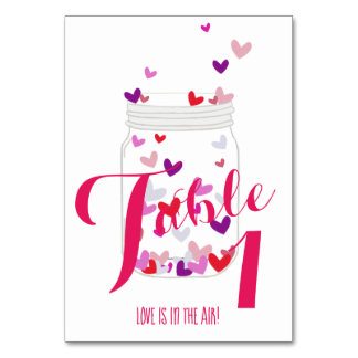 Love Is In The Air Hearts Party Number Table Cards