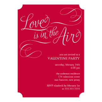 """""""Love is in the Air"""" Stylish Valentines Day Party Card"""