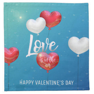 Love Is In The Air Valentine Balloons Cloth Napkin