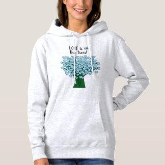 LOVE is in the trees Cute Blue Hearts Tree Print Hoodie