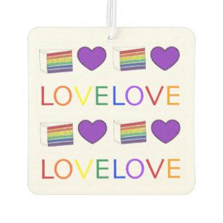 LOVE IS LOVE Gay Pride Rainbow Cake LGBT Heart Air Freshener