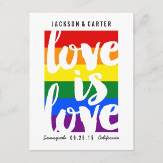 Love is Love Gay Pride Wedding Save the Date Card