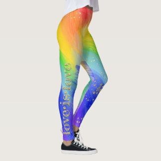 Love is Love Gold Typography Watercolor Rainbow Leggings
