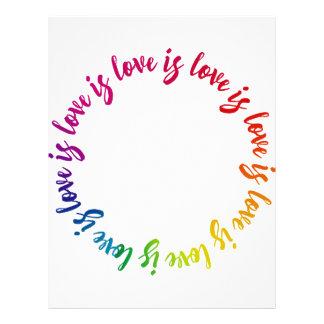 Love is love is love rainbow circle letterhead design