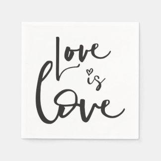 LOVE IS LOVE LBGT black hand lettered typography Disposable Napkin