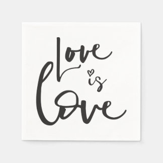 LOVE IS LOVE LBGT black hand lettered typography Napkin
