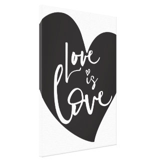 LOVE IS LOVE LBGT modern heart white lettering Canvas Print