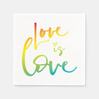 LOVE IS LOVE LBGT rainbow hand lettered typography Disposable Napkin