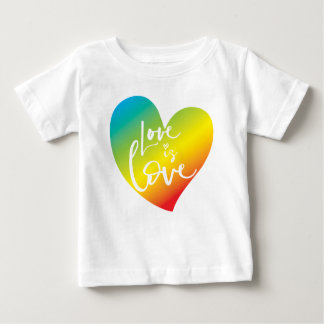 LOVE IS LOVE LBGT rainbow heart white lettering Baby T-Shirt