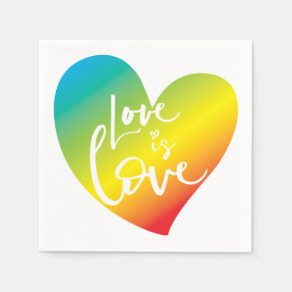 LOVE IS LOVE LBGT rainbow heart white lettering Paper Napkin
