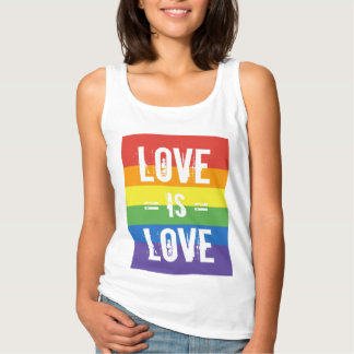 Love is Love - Love Equality Rainbow Flag Tank Top