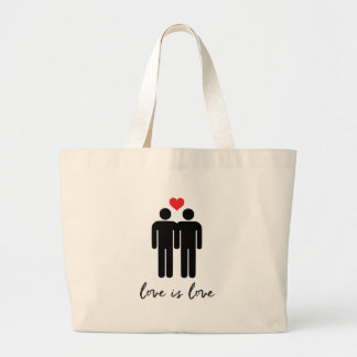 Love is Love (Men) + Heart Large Tote Bag