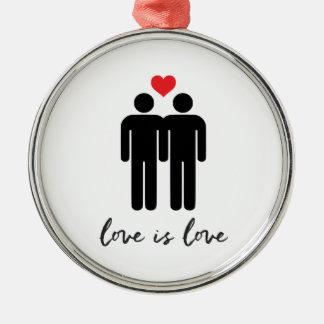 Love is Love (Men) + Heart Silver-Colored Round Ornament