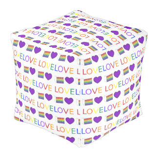 Love is Love Purple Heart Rainbow Cake Gay Pride Pouf