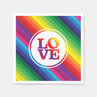 LOVE IS LOVE rainbow colors spot typography bold Disposable Napkin