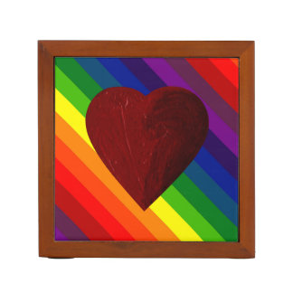 LOVE IS LOVE RAINBOW HEART! DESK ORGANIZERS