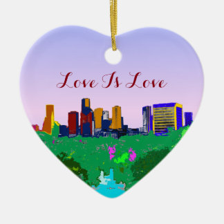Love Is Love Rainbow Houston Skyline Gay Pride Ceramic Ornament