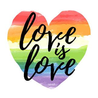 Love is Love   Rainbow Watercolor Heart