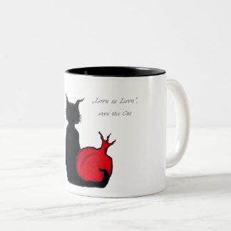 Love is Love, says the Cat Two-Tone Coffee Mug